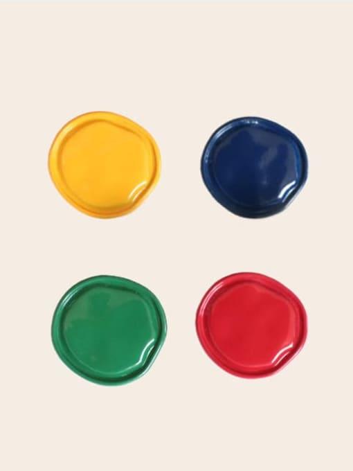 Five Color Alloy Enamel Round Cute Stud Earring 2