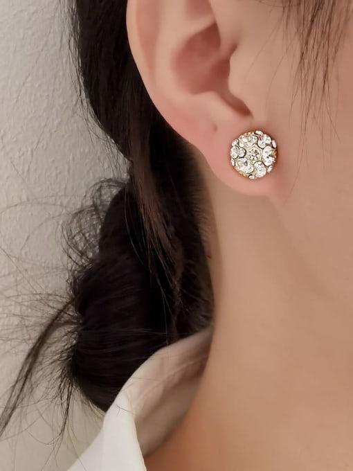 HYACINTH Brass Rhinestone Geometric Minimalist Stud Earring 1