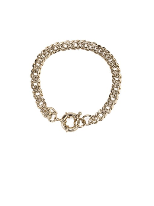 Coffee gold Brass  Hollow Geometric Vintage  Simple and versatile chain bracelet