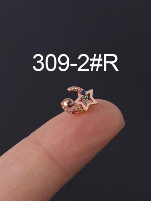 2 Rose Gold  Single Brass Cubic Zirconia Geometric Hip Hop Chandelier Earring
