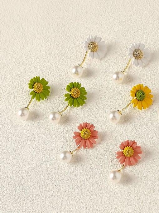 HYACINTH Brass Imitation Pearl Enamel Flower Cute Drop Earring