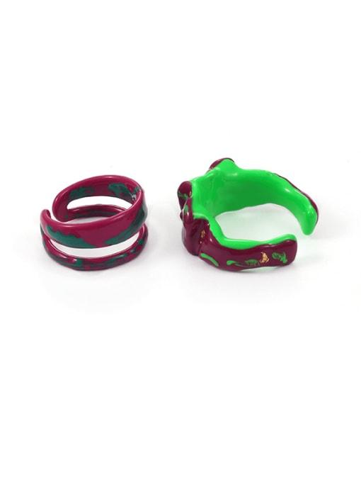 Five Color Zinc Alloy Enamel Irregular Minimalist Stackable Ring 2
