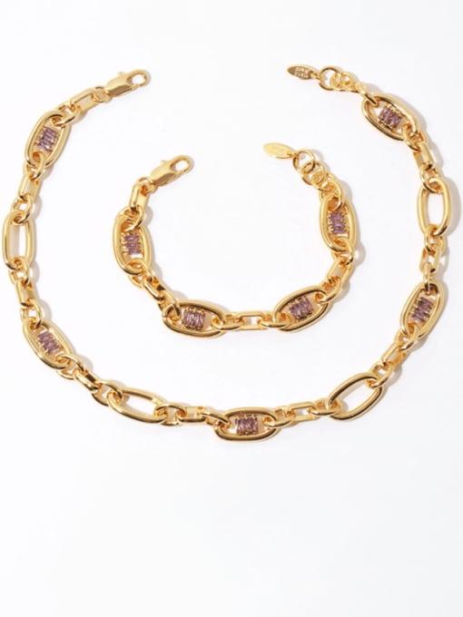 TINGS Brass Cubic Zirconia Geometric Hip Hop Necklace 3