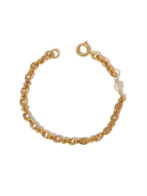 golden Brass Geometric Hip Hop Hollow Chain Link Bracelet