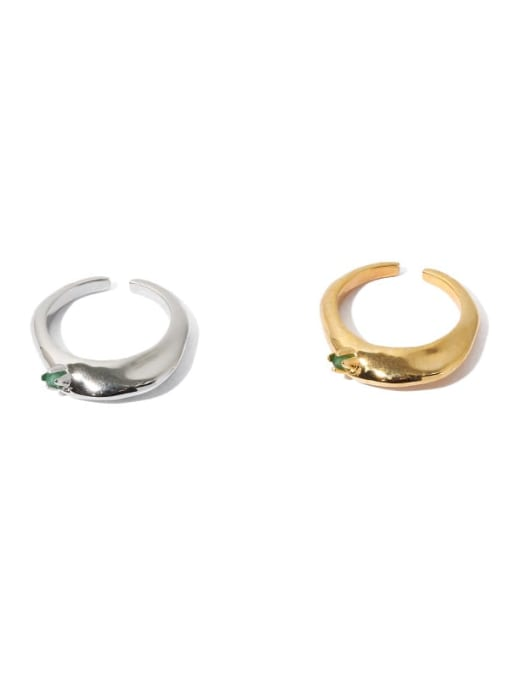 TINGS Brass Cubic Zirconia Geometric Hip Hop Band Ring 3