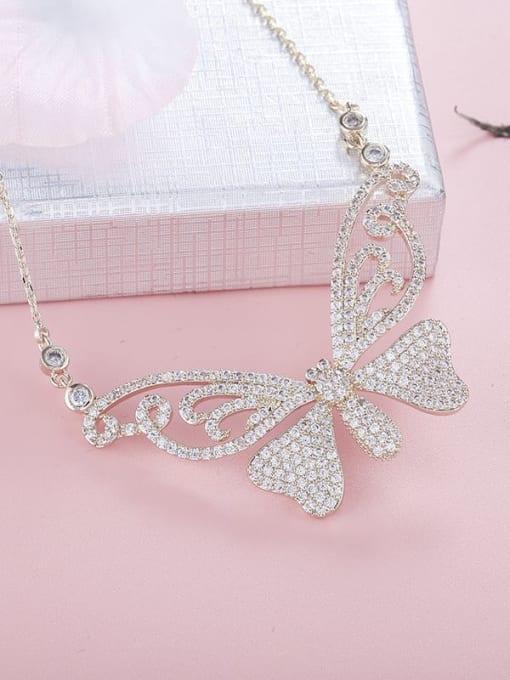 YILLIN Brass Cubic Zirconia Butterfly Minimalist Necklace 1