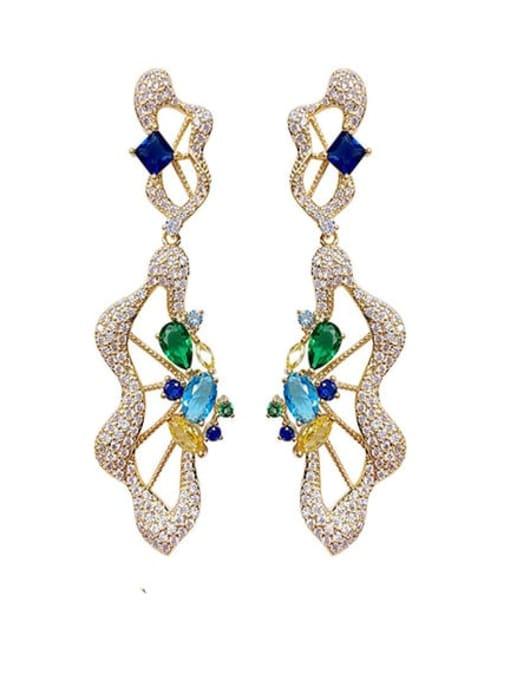 OUOU Brass Cubic Zirconia Irregular Luxury Drop Earring 0