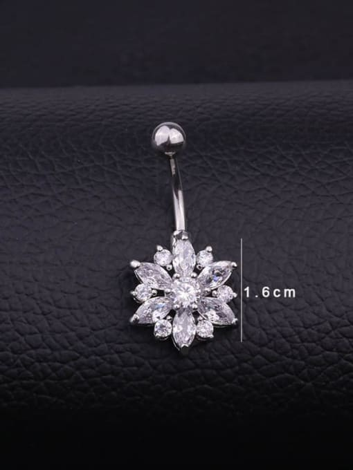 HISON Stainless steel Cubic Zirconia Flower Hip Hop Belly studs & Belly Bars 3