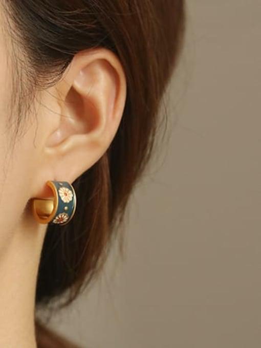 ACCA Brass Enamel Flower Vintage Stud Earring 1