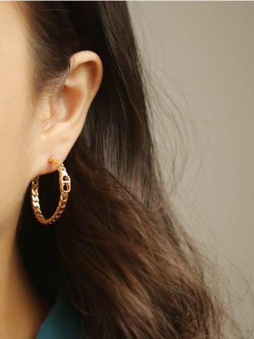 ACCA Brass Cubic Zirconia Geometric Hip Hop Stud Earring 2