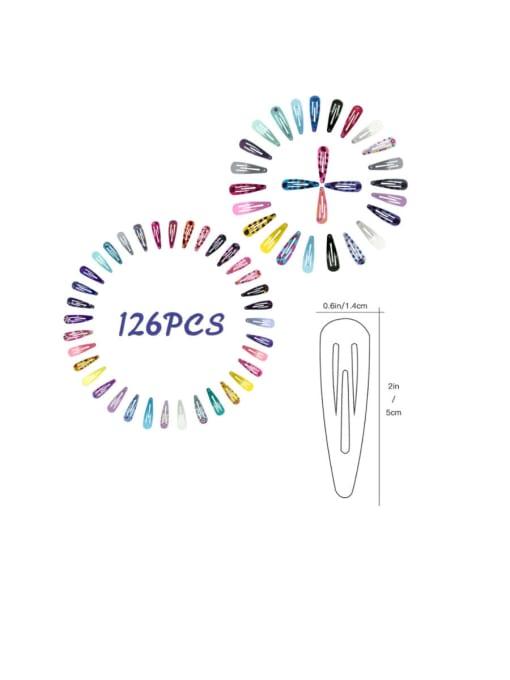 DINGHM Alloy  Printing Children 126PCS Water drop clip BB clip side clip set 2