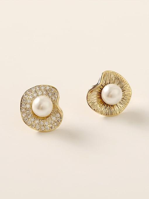 HYACINTH Brass Rhinestone Geometric Vintage Stud Earring 0