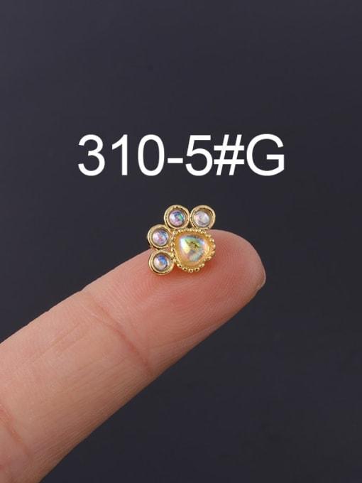 5 Gold (Single) Brass Cubic Zirconia Geometric Hip Hop Stud Earring