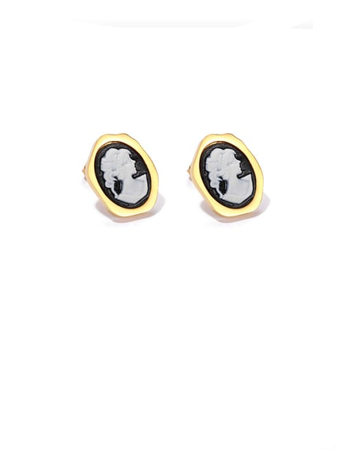 Black and white contrast Brass Resin Oval Vintage Stud Earring