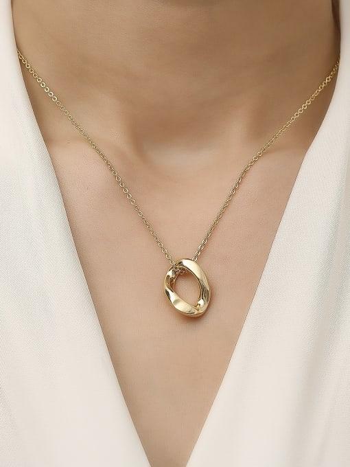 HYACINTH Brass Hollow Geometric Vintage Trend Korean Fashion Necklace 1
