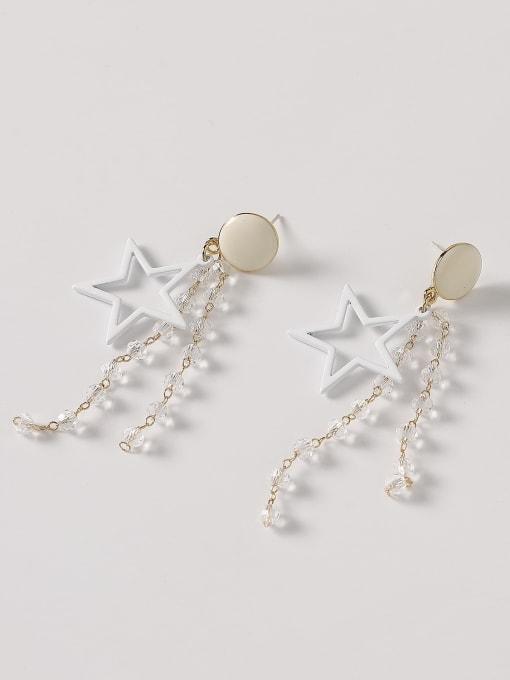 HYACINTH Brass Enamel Five Pointed Star Crystal Tassel  Drop Earring 4