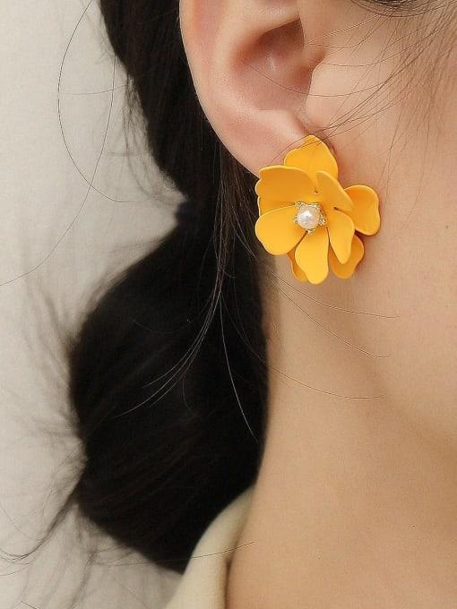 HYACINTH Brass Enamel Flower Cute Stud Trend Korean Fashion Earring 1