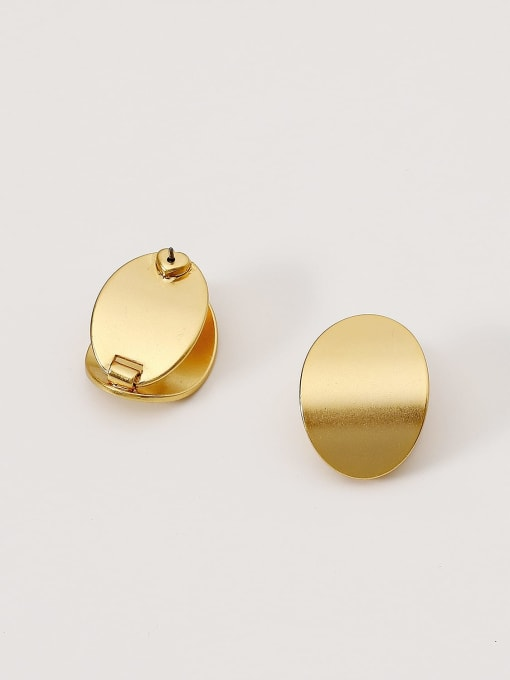 HYACINTH Brass Smooth Geometric Minimalist Stud Earring 2