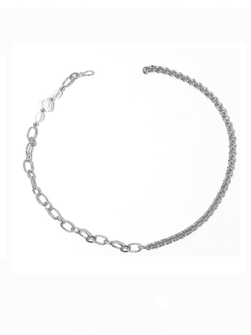 Pearl Necklace Brass Imitation Pearl Irregular Vintage Necklace