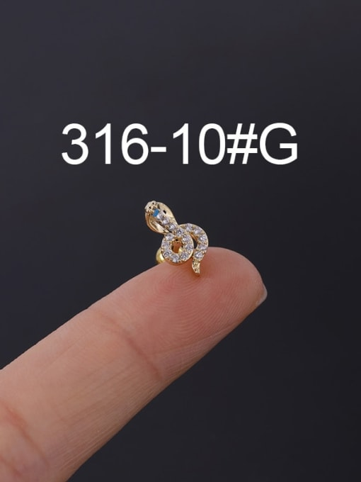 10G Stainless steel with Cubic Zirconia Ear Bone Nail/Puncture Earring