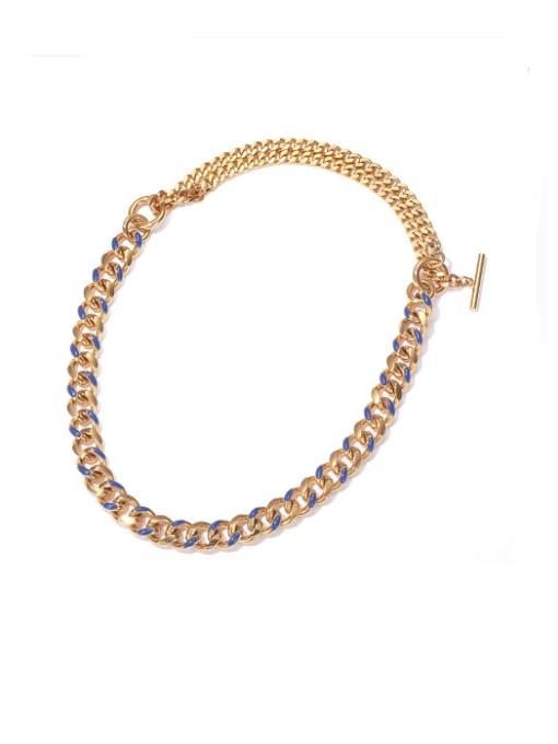 Blue oil drop gold necklace Brass Hollow Geometric  Chain Vintage Necklace
