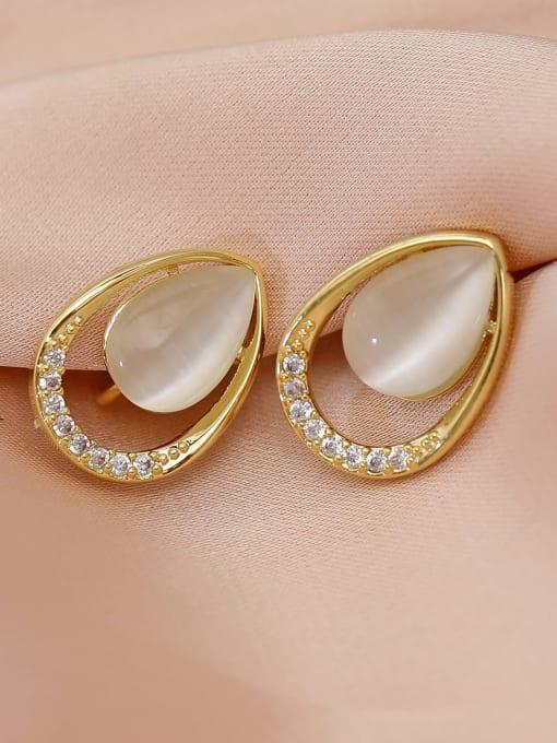 HYACINTH Brass Cats Eye Water Drop Minimalist Stud Earring 2