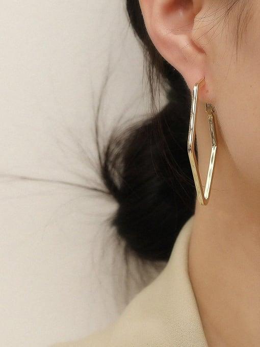 HYACINTH Brass Geometric Minimalist Huggie Trend Korean Fashion Earring 1