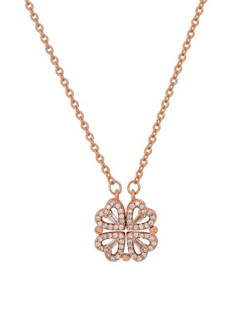 HYACINTH Brass Rhinestone Heart Minimalist Necklace 0