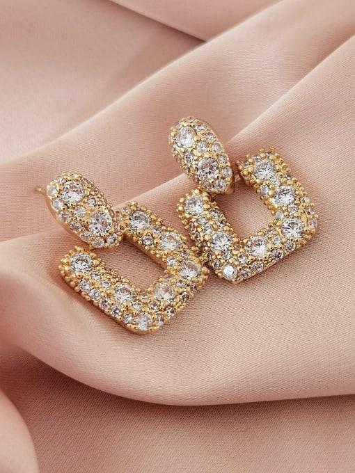 14k Gold Brass Cubic Zirconia Geometric Luxury Drop Earring