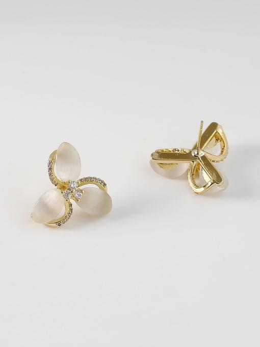 HYACINTH Brass Cats Eye Flower Minimalist Stud Earring 3