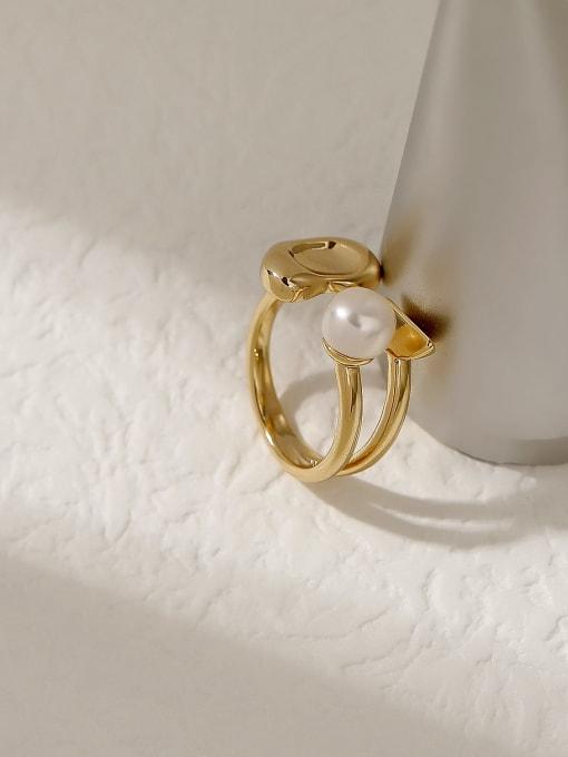 HYACINTH Brass Imitation Pearl Geometric Vintage Band Fashion Ring 2