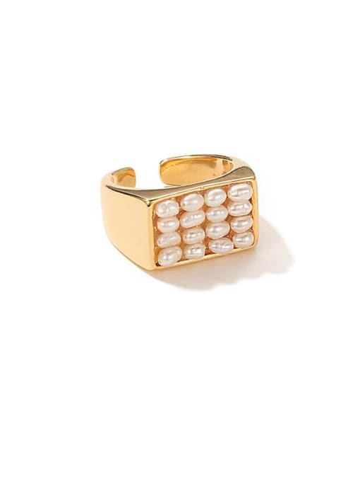 ACCA Brass Imitation Pearl Geometric Vintage Band Ring 0
