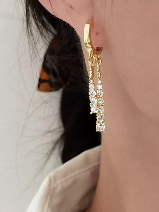 HYACINTH Brass Cubic Zirconia Tassel Vintage Huggie Earring 1