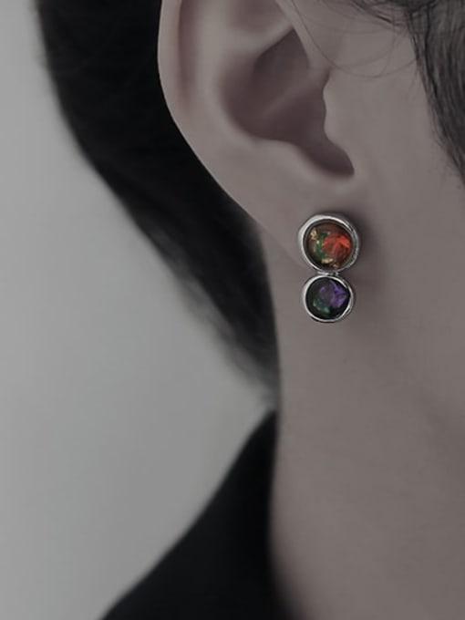TINGS Brass Rhinestone Geometric Vintage Drop Earring 1