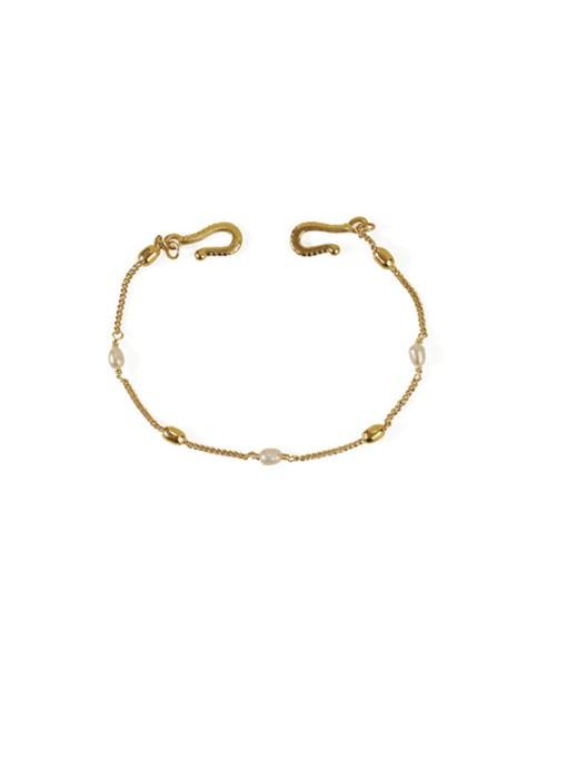 ACCA Brass Freshwater Pearl chain Vintage Link Bracelet 2
