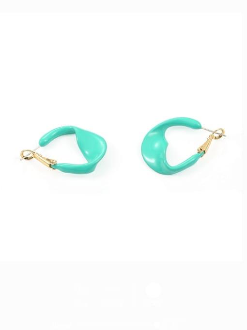 green Brass Enamel Geometric Minimalist Huggie Earring