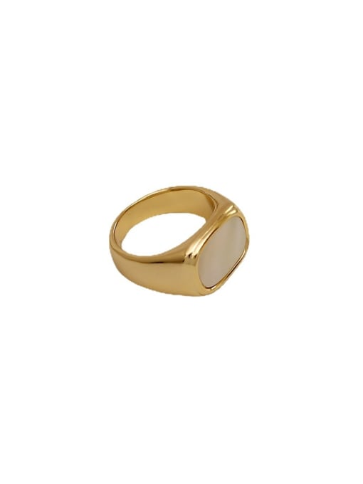 HYACINTH Brass Shell Geometric Vintage Band Ring 4