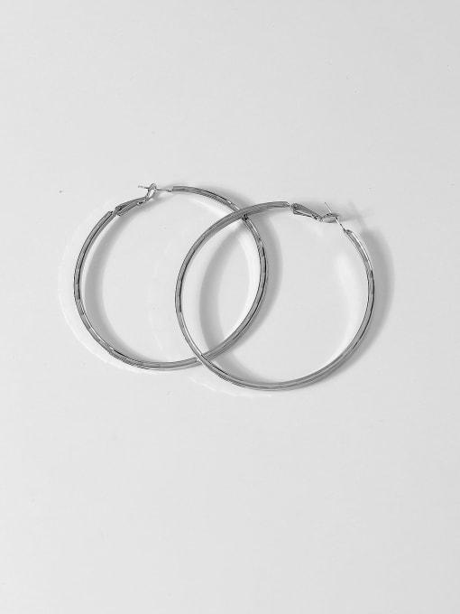 White K Brass Smooth Round Minimalist Hoop Earring