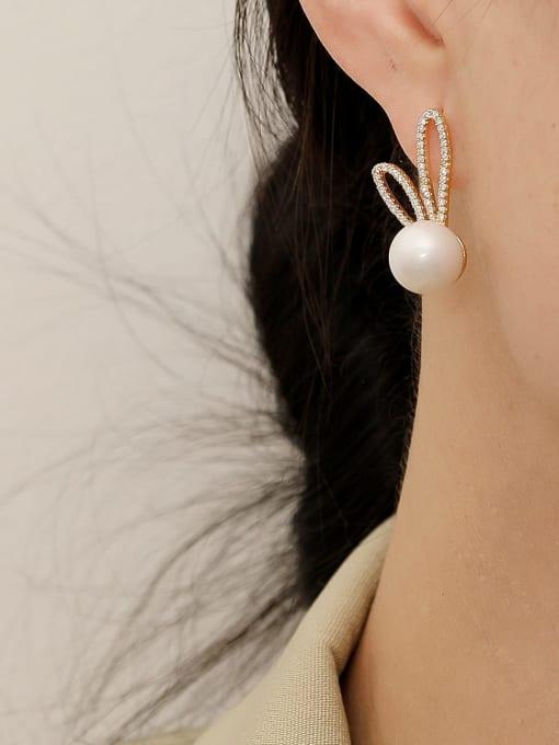 HYACINTH Brass Imitation Pearl Irregular Bohemia Rabbit ears  Stud Earring 1