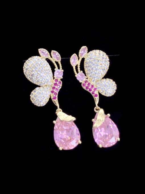 Pink Brass Cubic Zirconia Butterfly Luxury Drop Earring