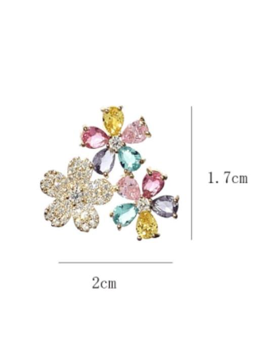SUUTO Brass Cubic Zirconia Flower Luxury Stud Earring 2