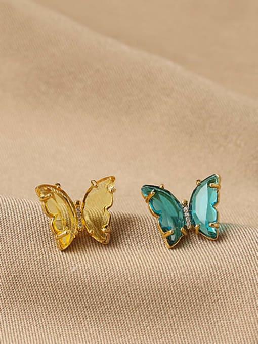 ACCA Brass Cubic Zirconia Butterfly Minimalist Stud Earring 1