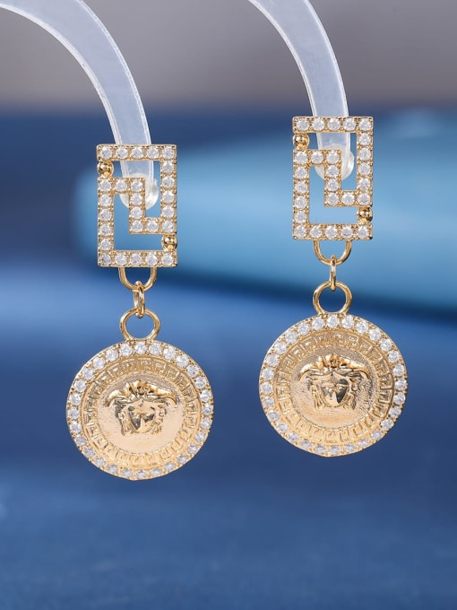 OUOU Brass Cubic Zirconia Geometric Vintage Huggie Earring 3