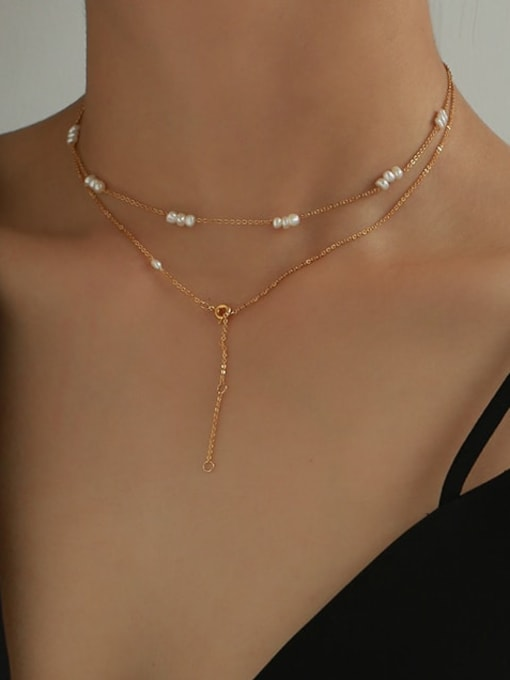 Five Color Brass Freshwater Pearl Geometric Vintage Necklace 1