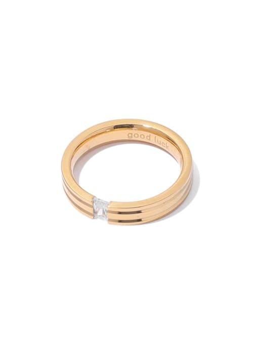 ACCA Brass Cubic Zirconia Round Minimalist Band Ring 2