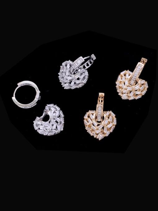 SUUTO Brass Cubic Zirconia Heart Minimalist Huggie Earring