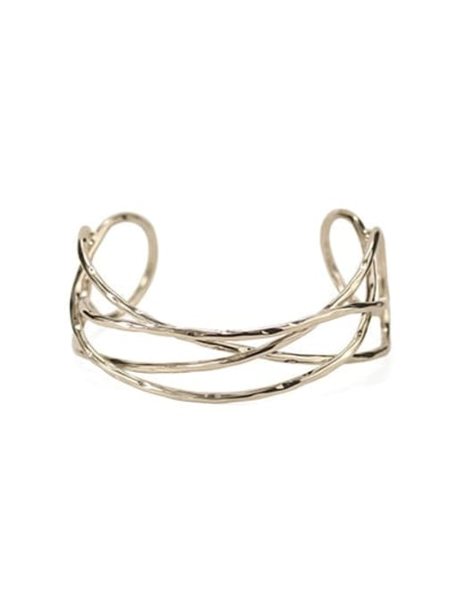 Twist line Brass  Vintage Geometric chain vintage twist  Cuff Bangle