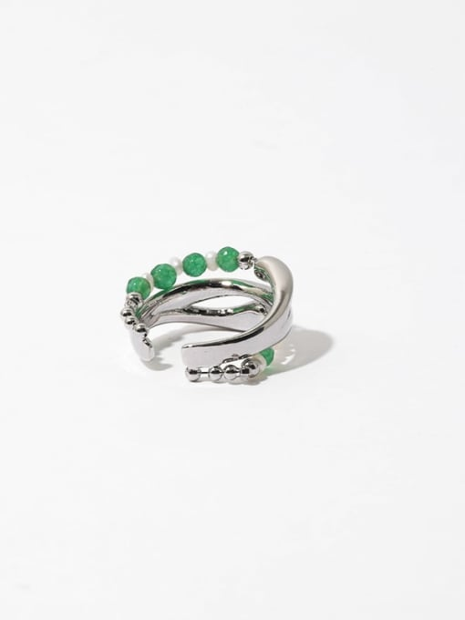 TINGS Brass Imitation Pearl Geometric Hip Hop Stackable Ring 3