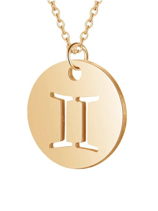 Gemini rose gold Titanium Steel Constellation Minimalist  Round Pendant Necklace