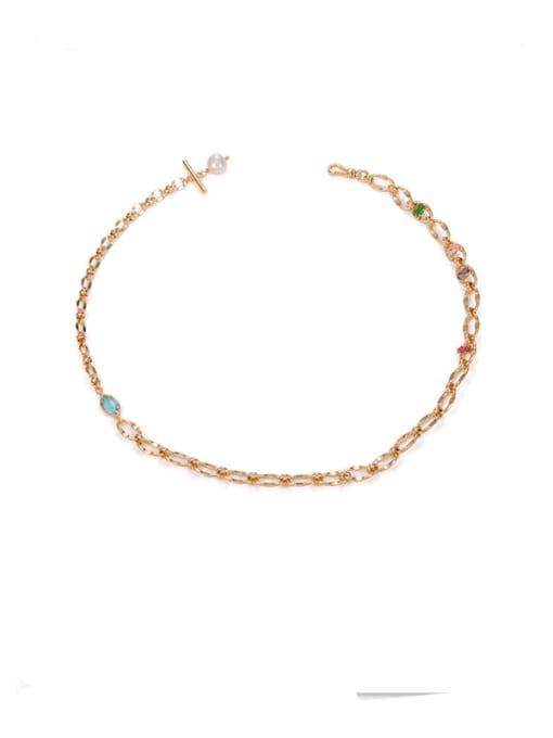 golden Brass Imitation Pearl Irregular Hip Hop Necklace